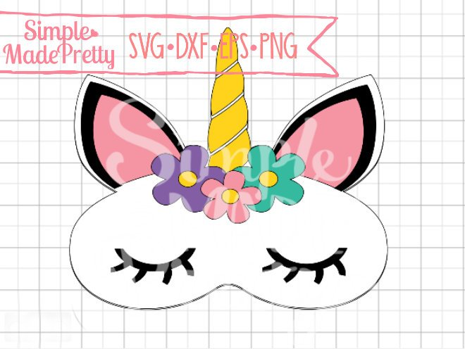 Unicorn Sleep Mask SVG, DXF, EPS, & Png - Cut File -Cricut, Silhouette