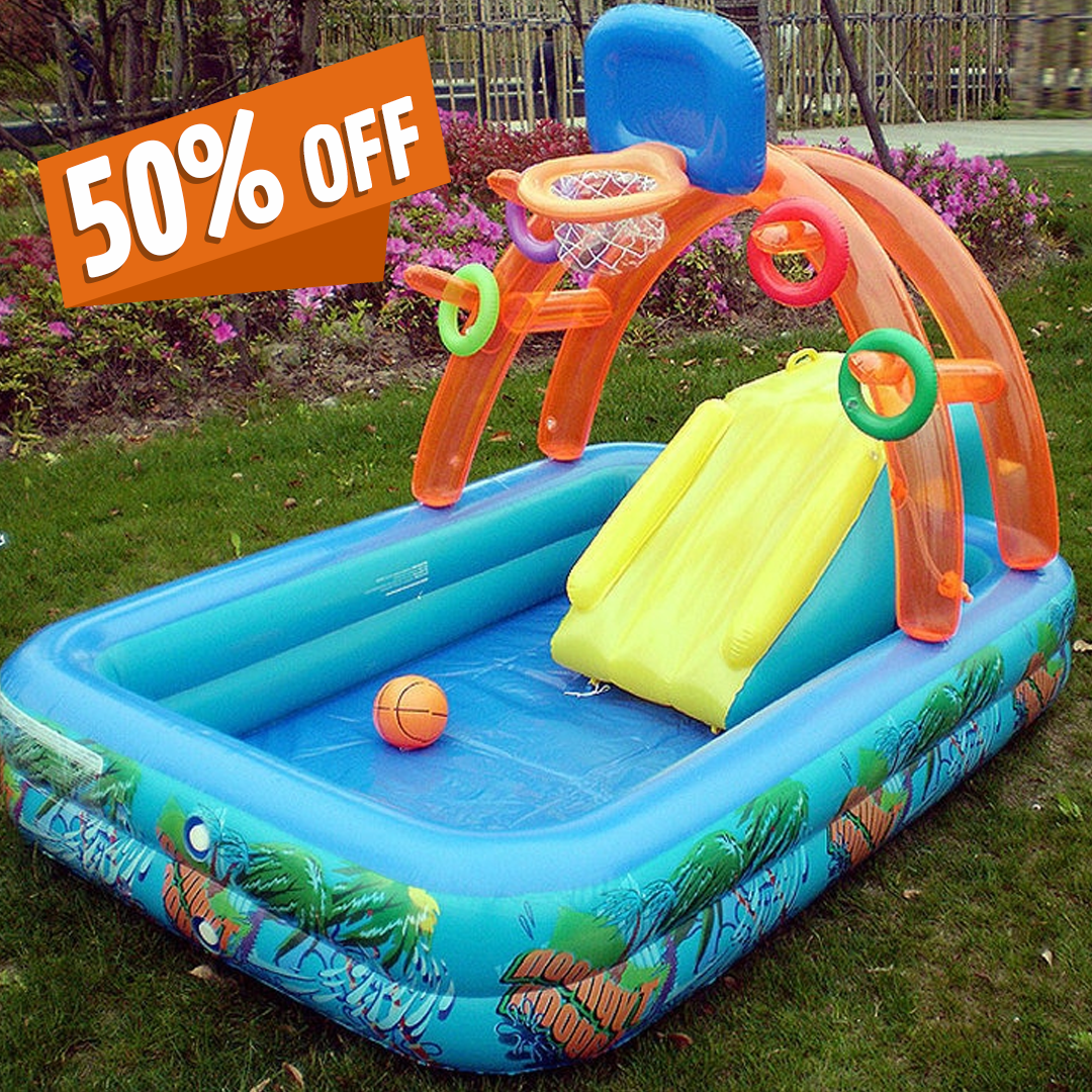 BIG INFLATABLE KIDS SWIMMING POOL WITH SLIDE AND BASKETBALL BOUNCER