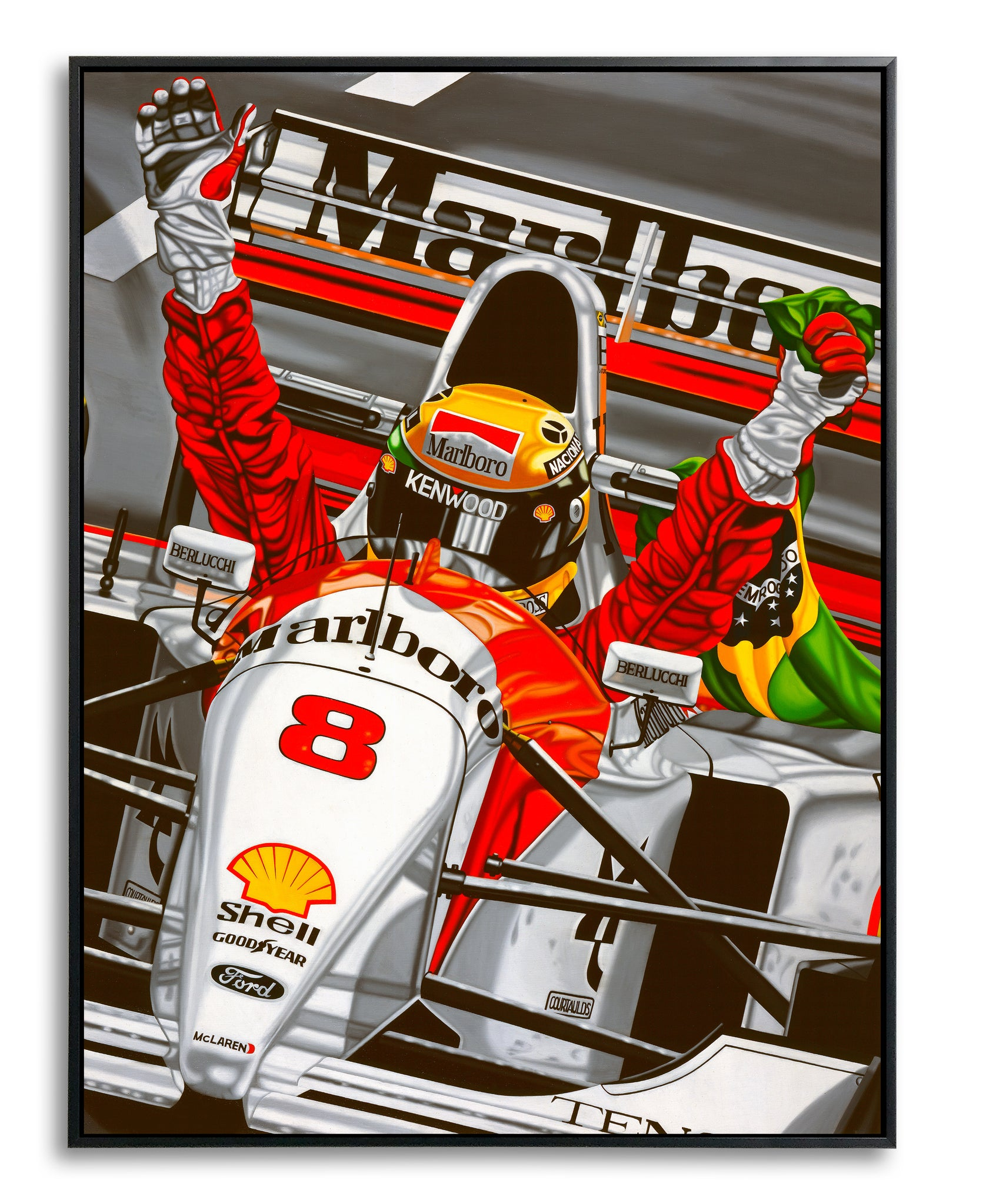 Ayrton Senna, Last Victory by Colin Carter, Limited Edition Canvas Print