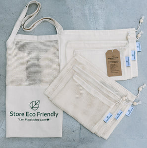 Organic Cotton Reusable Shopping Bags Family of 7 Bags.