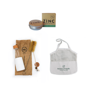 Summertime Trio - Reusable tote bags / Reef-safe Zinc Sunscreen/ SoL Bottles