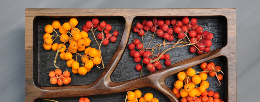 Branch Tray filled with colorful Mountain Ash berries.
