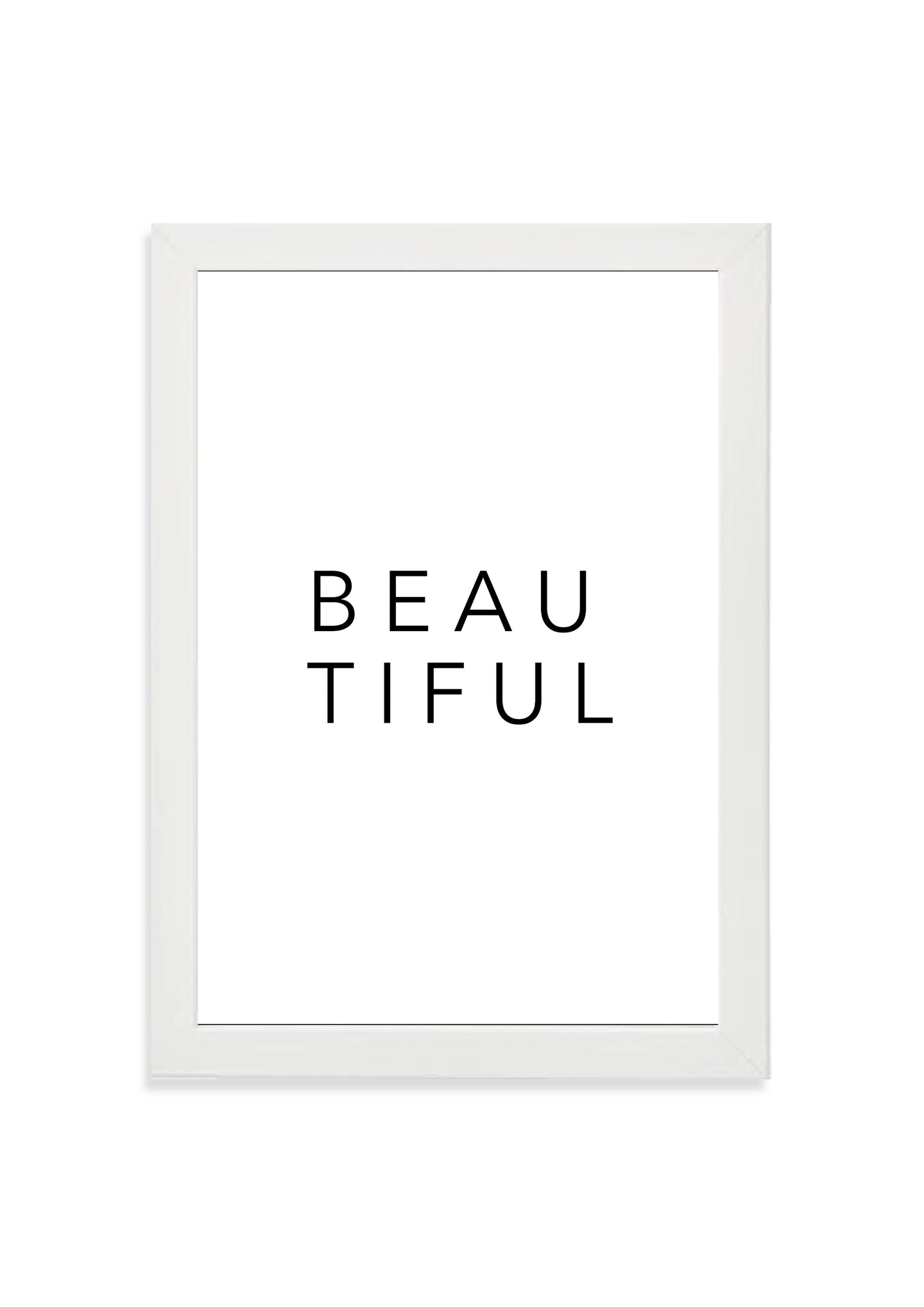 'Beautiful' typography print (black type)
