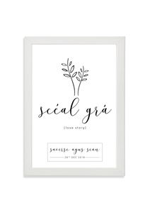 Scéal Grá (love story) customised wedding art print