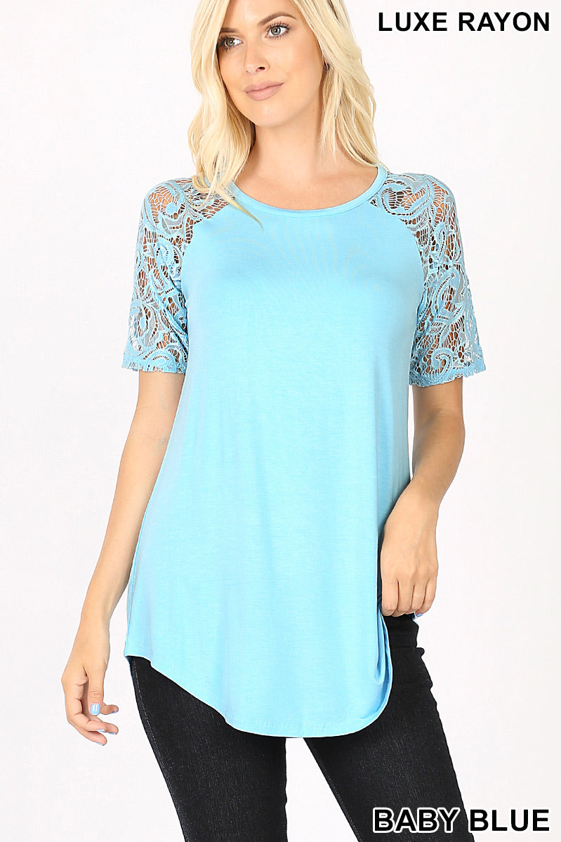Baby Blue Lace Sleeve Top
