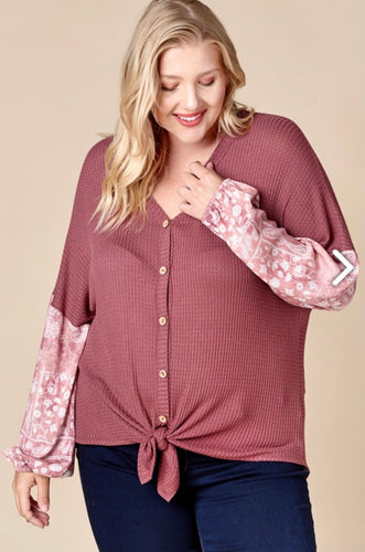 Waffle Knit Knot Top l A&B's Boutique