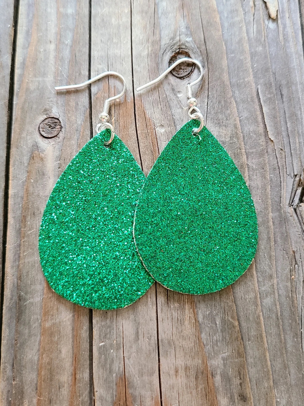 Green Glitter Teardrop Dangles l A&B's Boutique