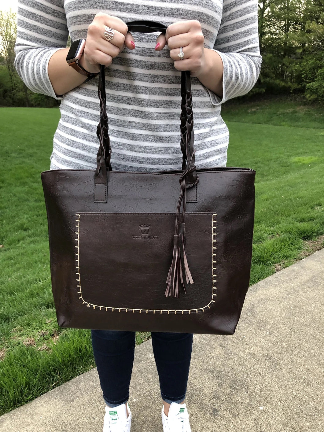 Braided Handle Tassel Tote l A&B's Boutique