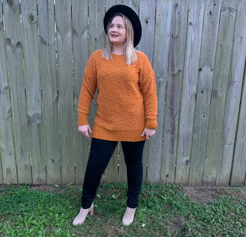Dreaming At Dusk Mustard Popcorn Sweater l A&B's Boutique
