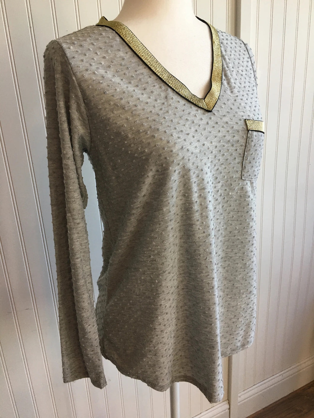 Grey Swiss Dot Top l A&B's Boutique