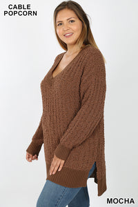 Dreaming At Dusk Mocha Popcorn Sweater l A&B's Boutique