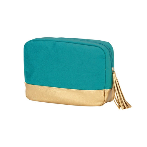 Teal Cabana Cosmetic Bag l A&B's Boutique