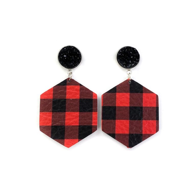 Druzy Stud, Red & Black Buffalo Plaid Dangle Leather Earrings l A&B's Boutique