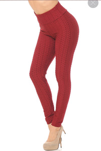 "Burgundy ""Tik Tok"" Leggings l A&B's Boutique"