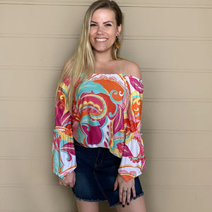 3/4 Bell Sleeve Peasant Top l A&B's Boutique