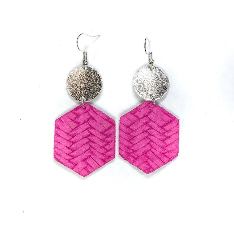 Hot Pink Braid Leather Earrings l A&B's Boutique