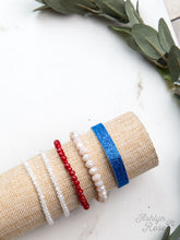 Load image into Gallery viewer, Red, White, and Blue Bracelet Set