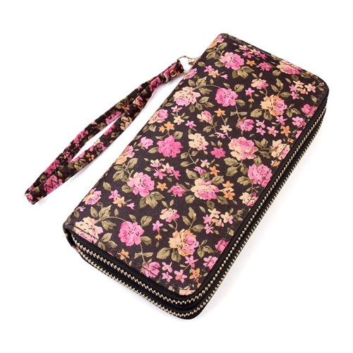 Floral Double Zip Wallet l A&B's Boutique