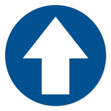 Blue Directional Arrow Floor Sign - 300mm Diameter. Pack of 4.