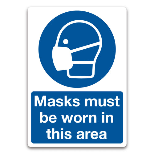 Masks Must Be Worn in This Area Safety Hygiene Sign