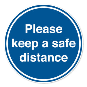 Please Keep a Safe Distance Floor Sign