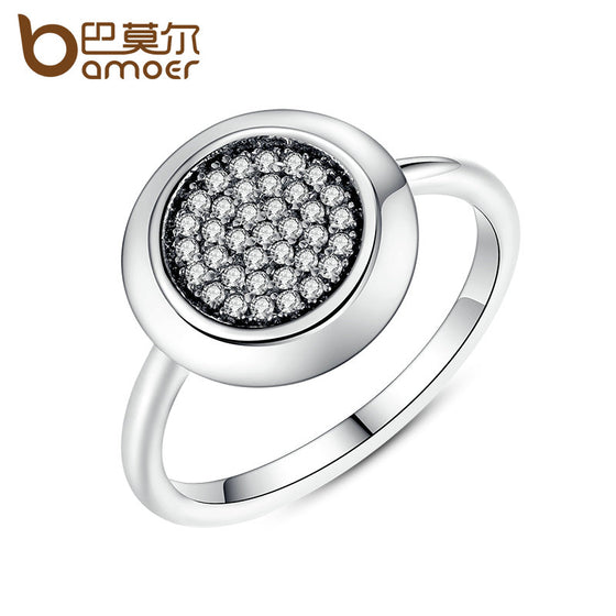 BAMOER Wholesale Cheap Round Shaped Ring Silver Color High Quality Crystals Rings for Women Wedding Jewelry PA7214