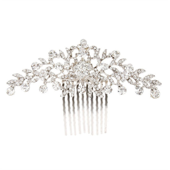Bridal Wedding Flower Diamante Crystal Rhinestone Women Hair Comb Headpiece