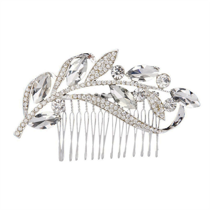 Charming Women's Bridal Wedding Crystal Rhinestones Decor Leaf Style Hair Comb Clip Hair Pin Hair Accesories