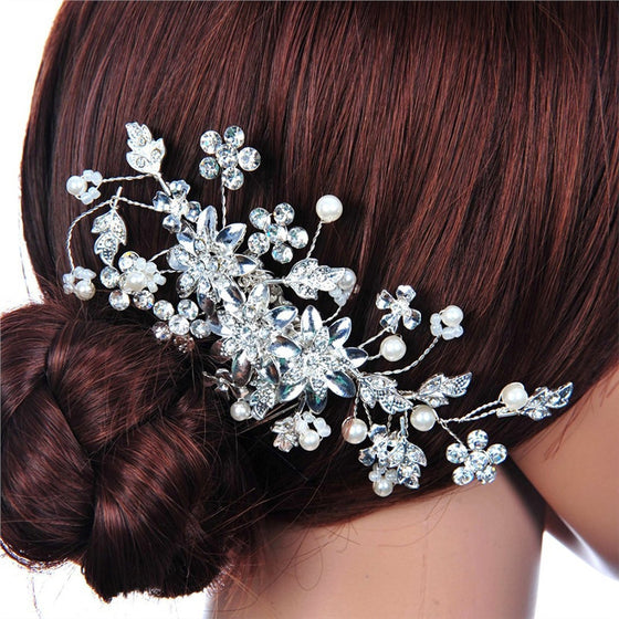 Delicate Women's Bridal Wedding Rhinestones Pearl Decor Flower Style Hair Comb Clip Hair Pin Hair Accesories