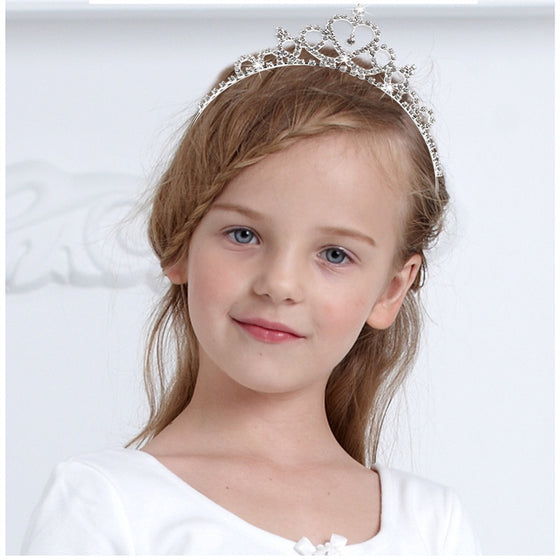 TINKSKY Wedding Party Children Flower Girl Crystal Rhinestones Heart Shaped Crown Headband Tiara