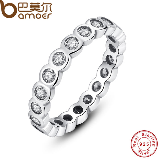 BAMOER 925 Sterling Silver Alluring Brilliant Stackable Finger Ring with Clear CZ Original Fine Jewelry PA7131