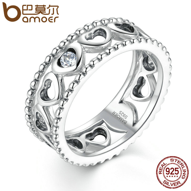 BAMOER Engagement Ring 100% 925 Sterling Silver Romantic Heart to Heart Finger Ring Women Fashion Jewelry SCR007