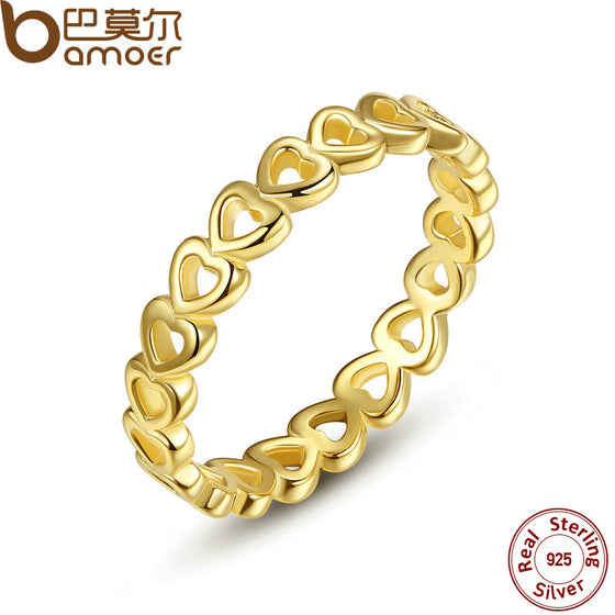 BAMOER Linked Love Openwork Heart Stackable Finger Ring for Women Engagement & Wedding Jewelry PA7140