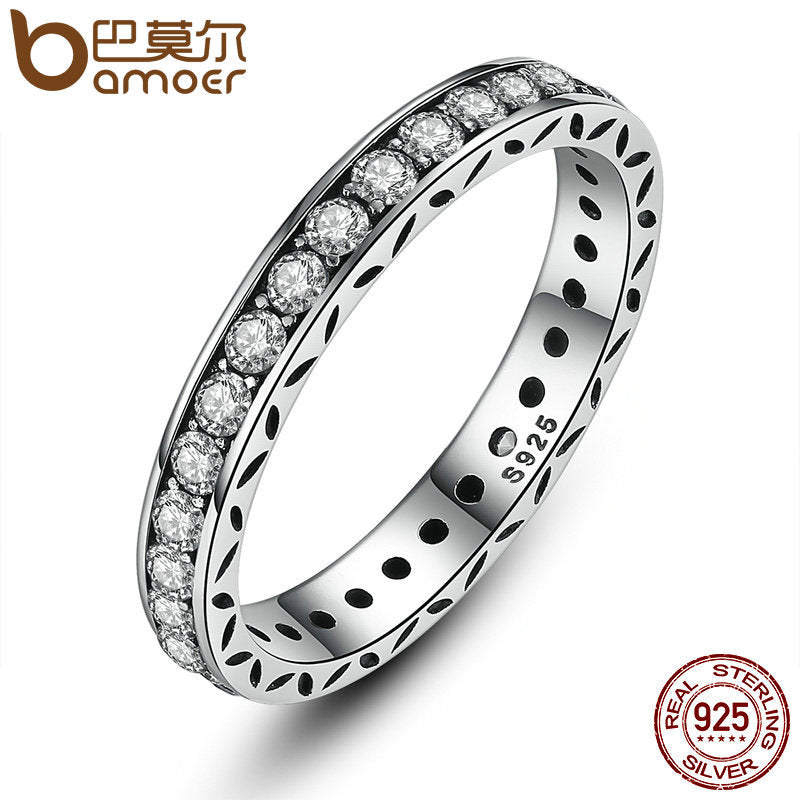 BAMOER Original 100% 925 Sterling Silver Finger Ring Authentic Luxury Jewelry For Women Wedding PA7119