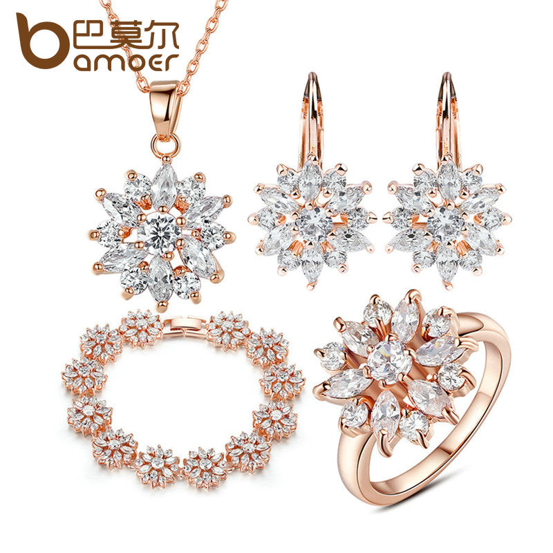BAMOER 3 Colors  Rose Gold Color Bridal Jewelry Sets & More for Women Wedding with High Quality AAA Zircon