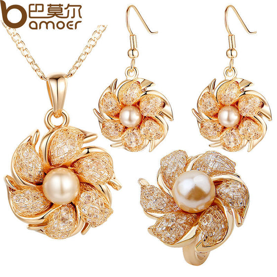 BAMOER  Gold Color Bridal Jewelry Sets and More with Pearl and Crystal for Women Anniversary High Quality
