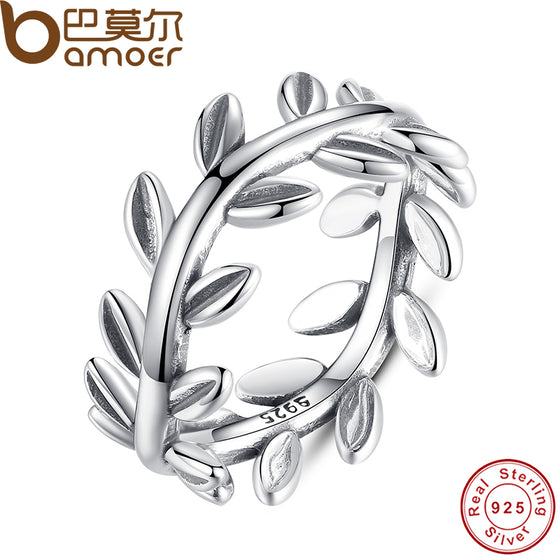 BAMOER New Collection Authentic Laurel Wreath Laurel Leaves Ring 100% Fine 925 Sterling Silver Jewelry PA7156