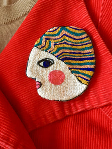 Barbara, Wearable Art,  Embroidered Brooch