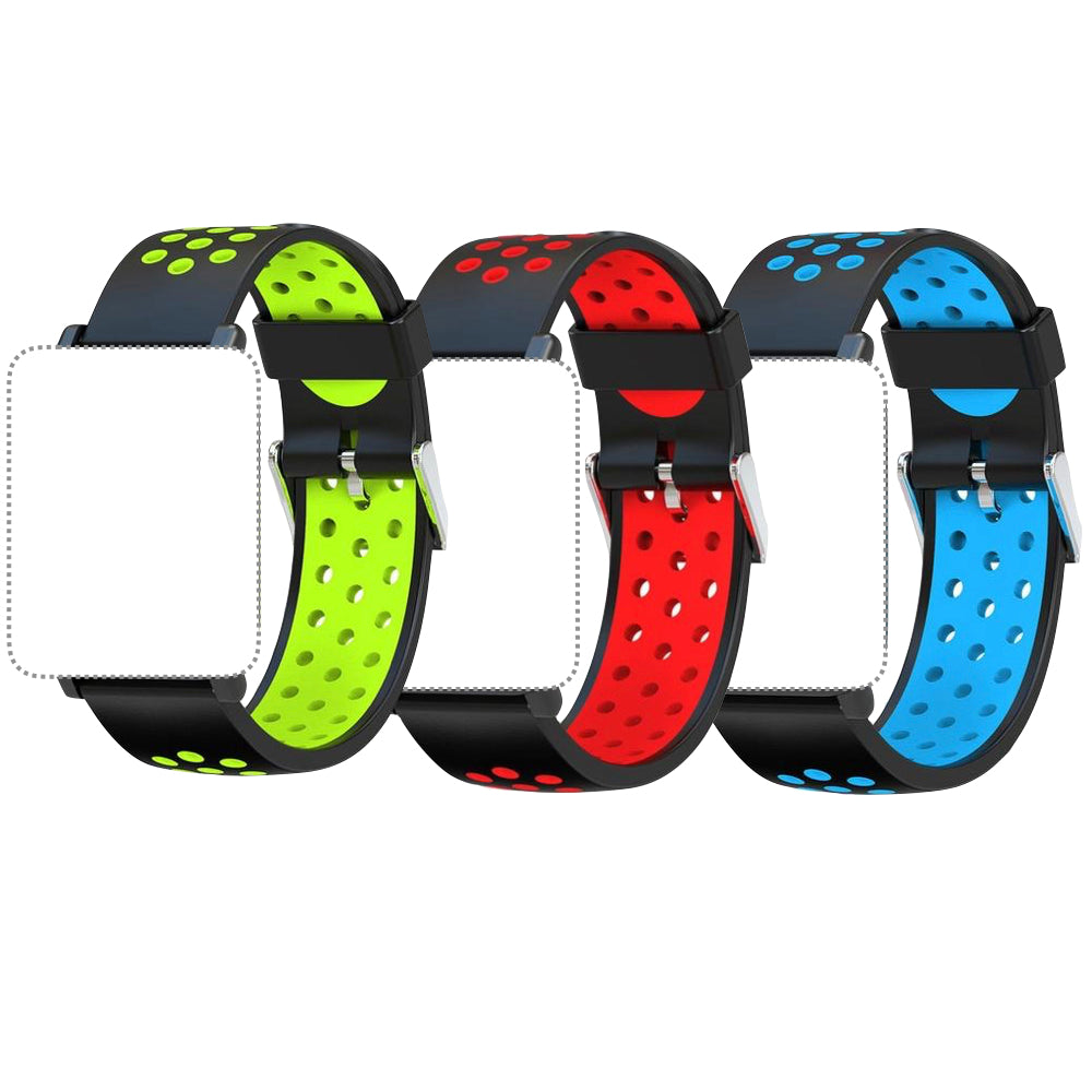 Replacement Bands for Smartwatch 3-Pack (Green, Red, Blue)