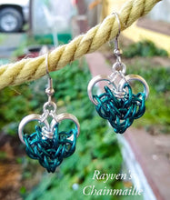 Load image into Gallery viewer, Silver &Teal Large Persian Chainmail Heart Earrings - Rayven's Chainmaille