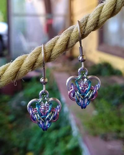 Unicorn Rainbow Chainmaille Heart Earrings - Rayven's Chainmaille