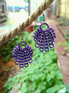 Gathered Seashell Chainmaille Earrings - Rayven's Chainmaille