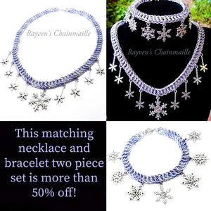 Snowflake Charm Two Piece Jewelry Set - Rayven's Chainmaille