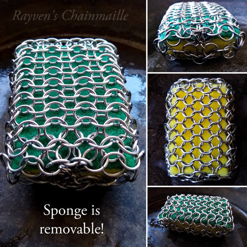 Rayven's Chainmaille - Chainmail Stainless Steel Kitchen & Grill Standard Cast Iron Sponge Scrubber