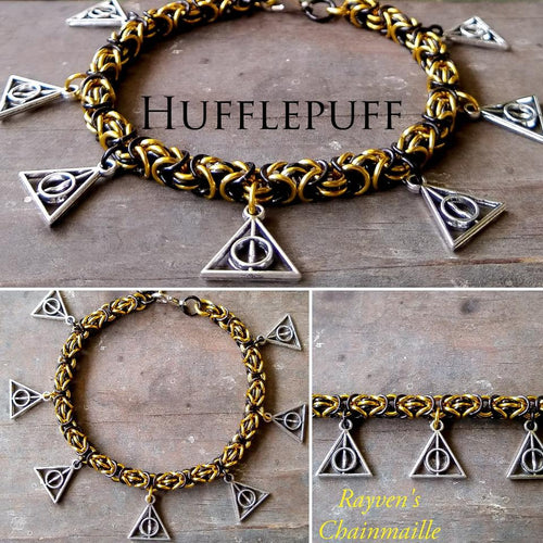 Rayven's Chainmaille| Harry Potter Hufflepuff Deathly Hallows Charm Bracelet