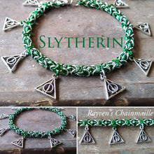 Load image into Gallery viewer, Harry Potter Slytherin Deathly Hallows Charm Bracelet