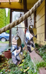 Silver Long Oops Scaled Chainmail Earrings - Rayven's Chainmaille