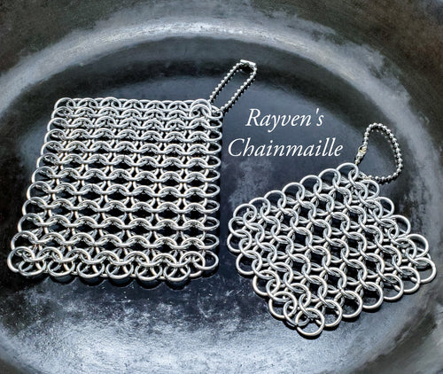 Rayven's Chainmaille| Cast Iron Stainless Steel Chainmail Pot Scrubbers