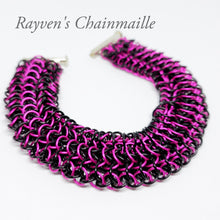 Load image into Gallery viewer, Rayven's Chainmaille| Hot Pink & Black Interwoven European 4-1 Chainmail Bracelet