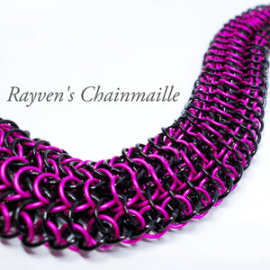 Rayven's Chainmaille| Hot Pink & Black Interwoven European 4-1 Chainmail Bracelet